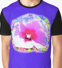 Colorful Abstract Copper Queen Hibiscus on Blue Graphic T-Shirt