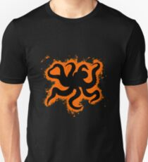 Silhouette octopus vector graphic orange and black silhouette Unisex T-Shirt