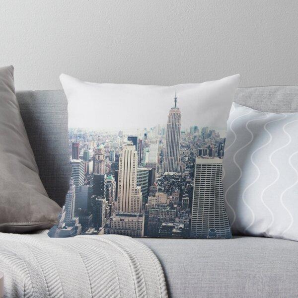 Foggy Day in New York City Throw Pillow