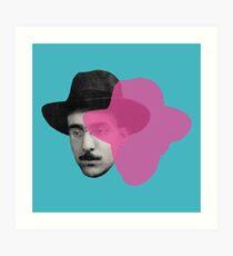 Fernando Pessoa portrait - blue pink pop Art Print