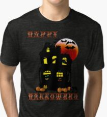 Happy Halloween Mansion  Tri-blend T-Shirt