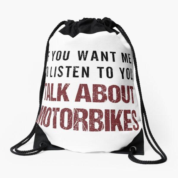 Rude Motorbike Shirt Drawstring Bag