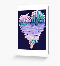 Blue CIty Violet Sea Greeting Card