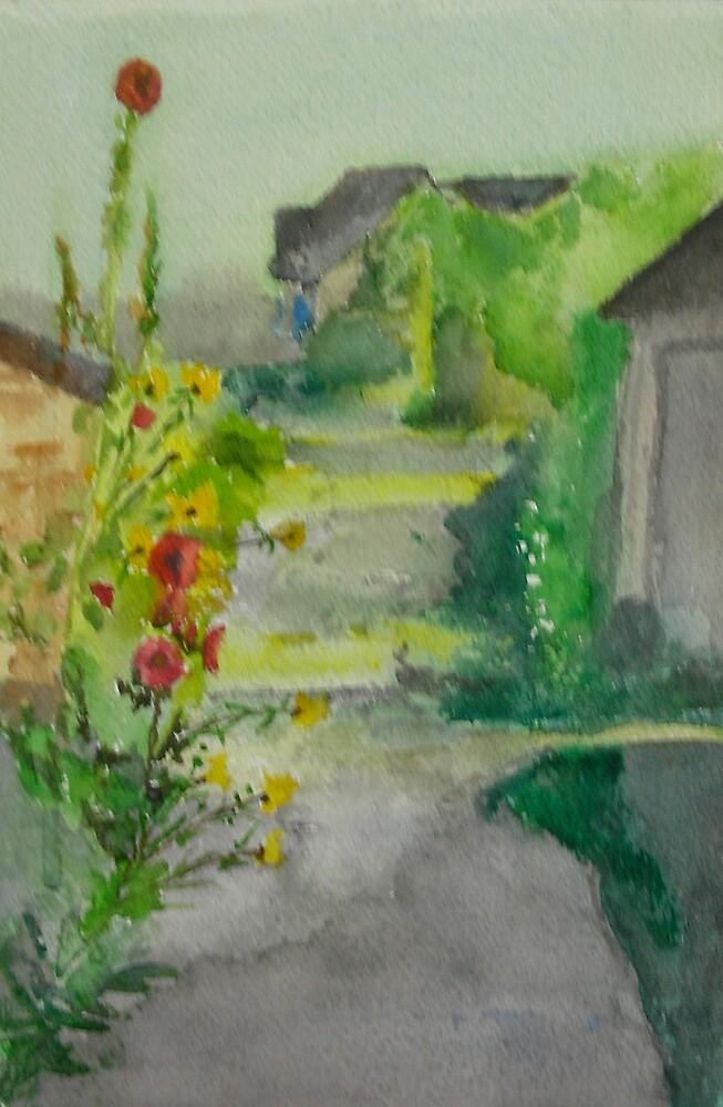 Quimiac, France, French, Watercolor, Salt Marsh, Mars Salé, Atlanique, Loire,  by Phyllis Dixon