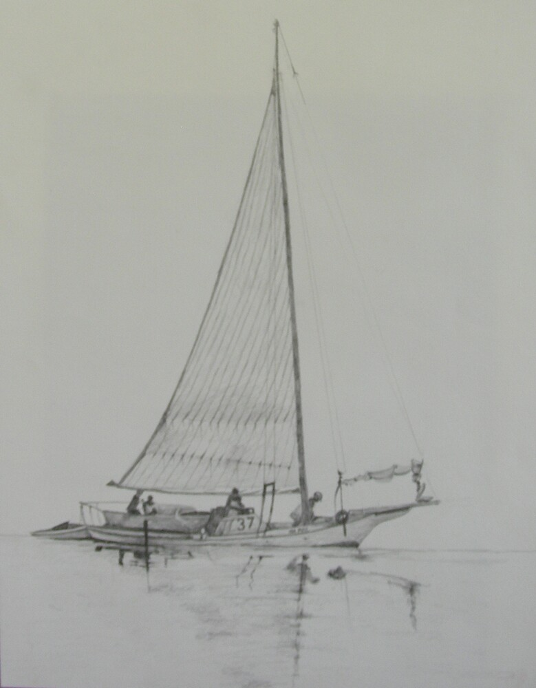 Skipjack in graphite by Phyllis Dixon