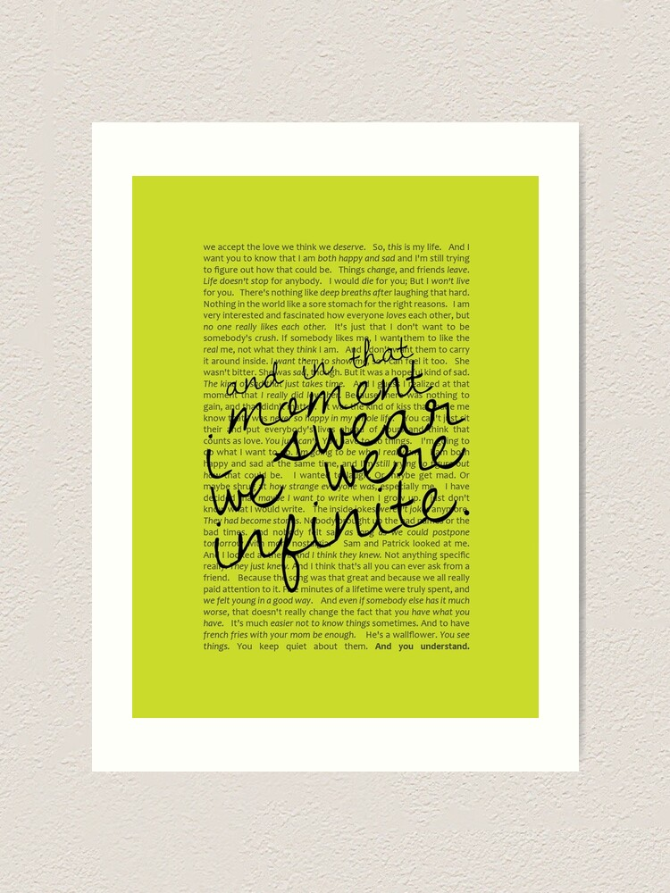 Alternate view of We Were Infinite - Quotes - Green Art Print