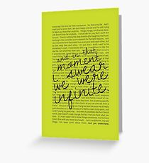 We Were Infinite - Quotes - Green Greeting Card