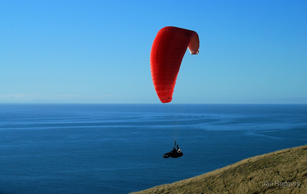 Paragliding in the Port Hills New Zealand by Janette Rodgers
