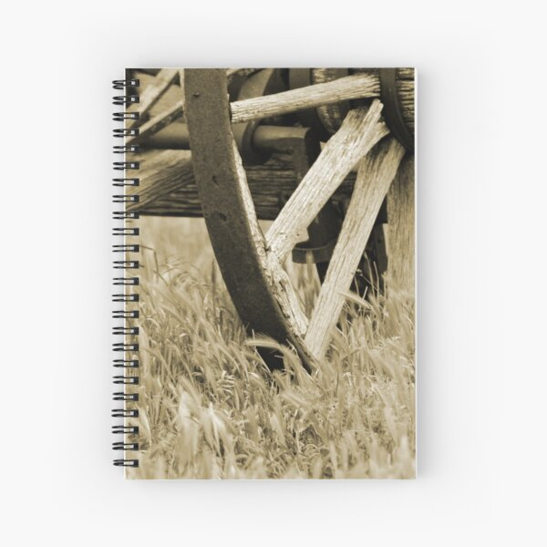 Vintage Wagon Wheel in Sepia Spiral Notebook