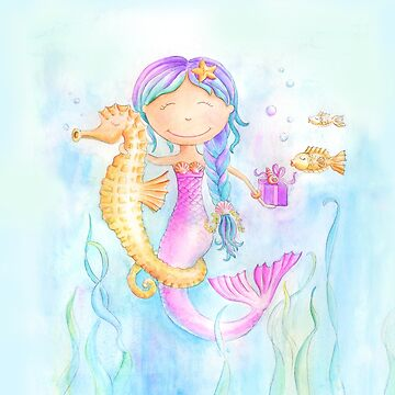 Whimsical mermaid and seahorse watercolor art  by sarahtrett