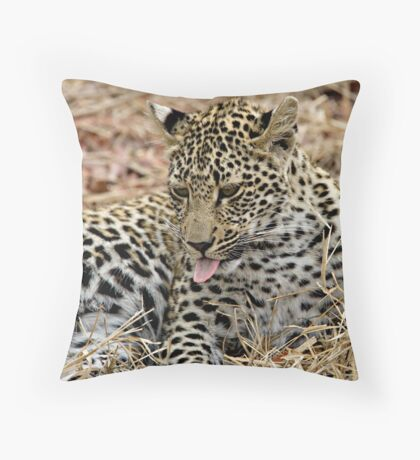 Leopard Cub Expressing Herself Throw Pillow
