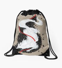 WHITE FOX RIBBONS  Drawstring Bag