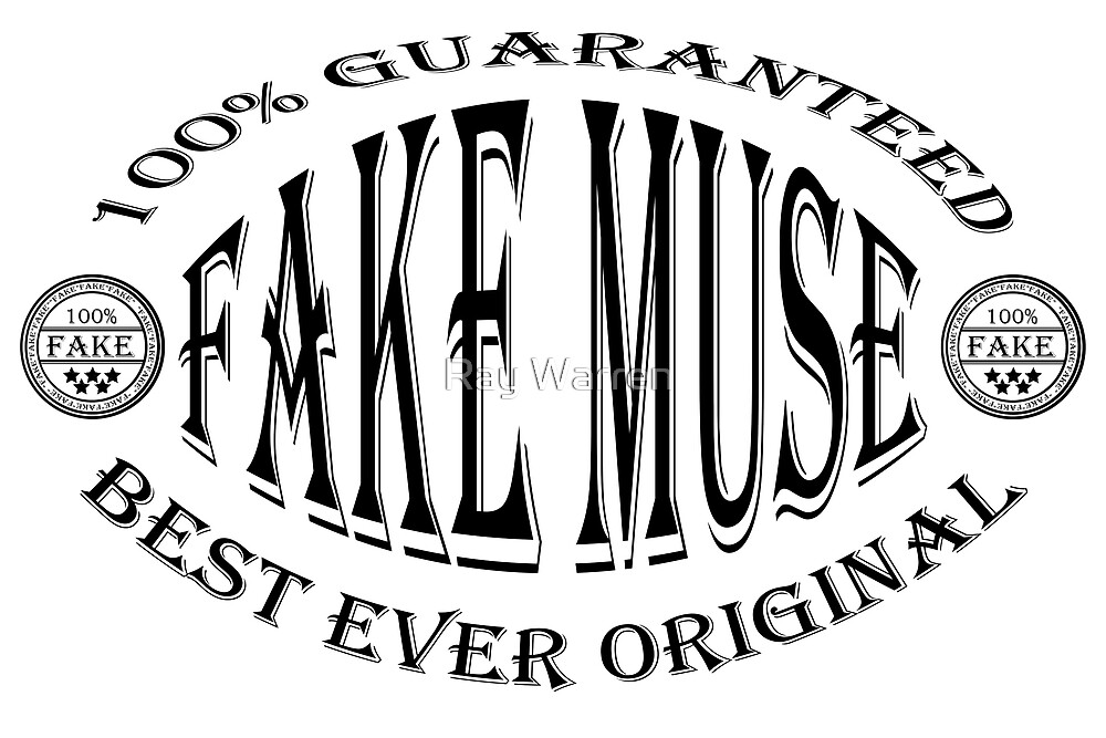 Fake Muse badge (black on white) by Ray Warren