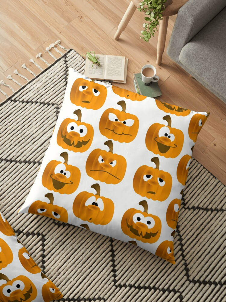 Funny Pumpkins Floor Pillow By Mademesmile Redbubble