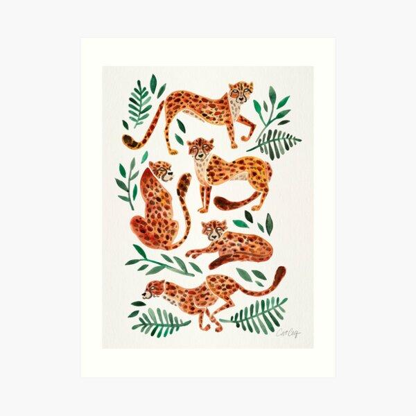 Cheetah Collection – Orange & Green Palette Art Print