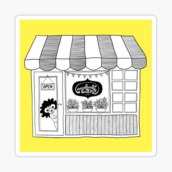 Doodle Illustration Artist Shop Front - Happy Yellow Sticker