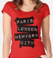 PARIS LONDON NEW YORK CITY Women's Fitted Scoop T-Shirt