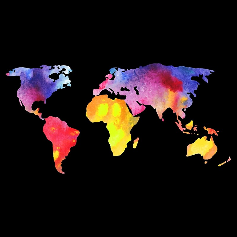 Our Colorful World Art Prints By JolenesTrailer Redbubble - Colorful world map
