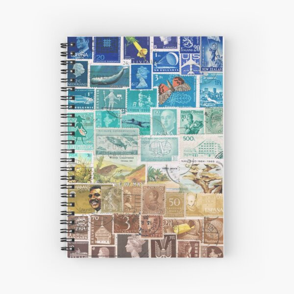 Beachy - Postage Stamp Collage Spiral Notebook