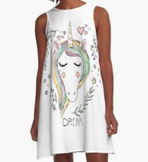 Indie Unicorn Cute Illustration Drawing Dream A-Line Dress