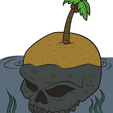 Halloween island skull skull palm tree gift beach water sea by MyShirt24