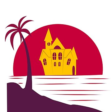 Island house villa sea beach palm trees halloween witch house moon sunset gift by MyShirt24