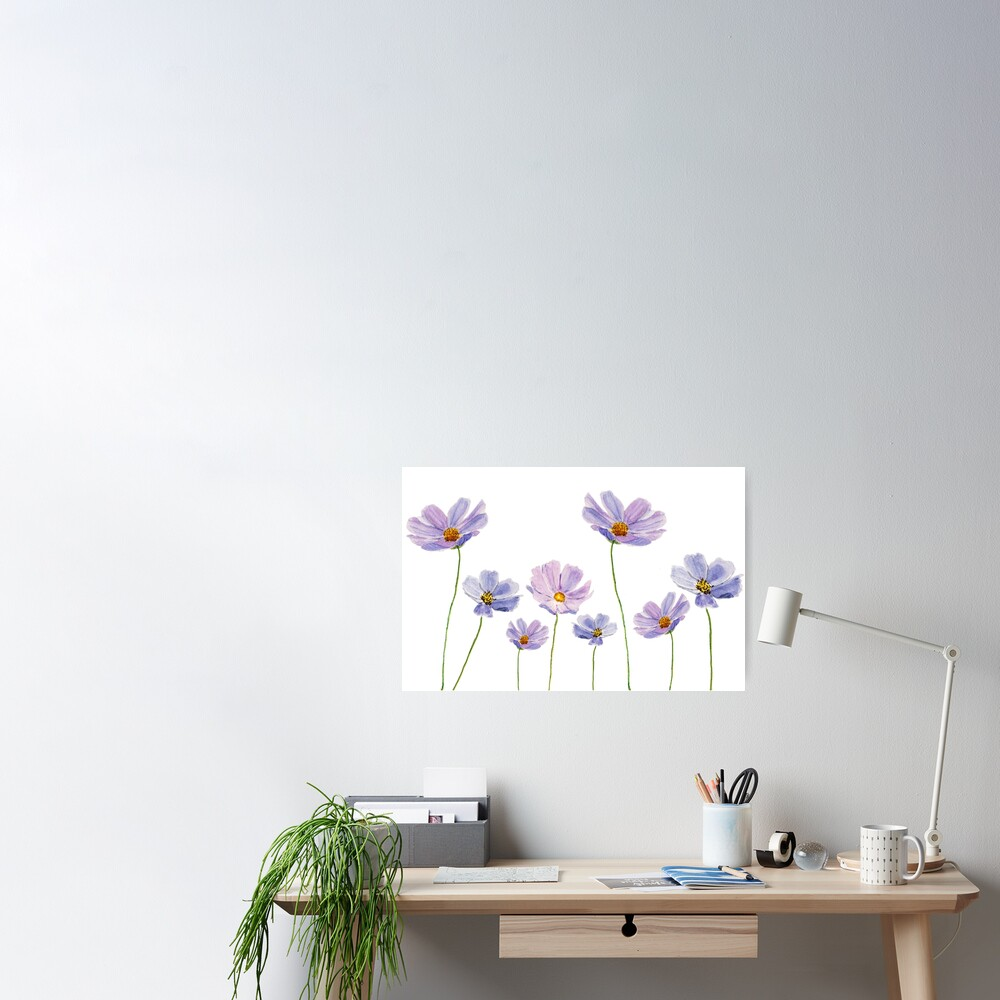 purple cosmos flowers watercolor Poster