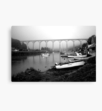 Misty Morning at Calstock b&w Canvas Print