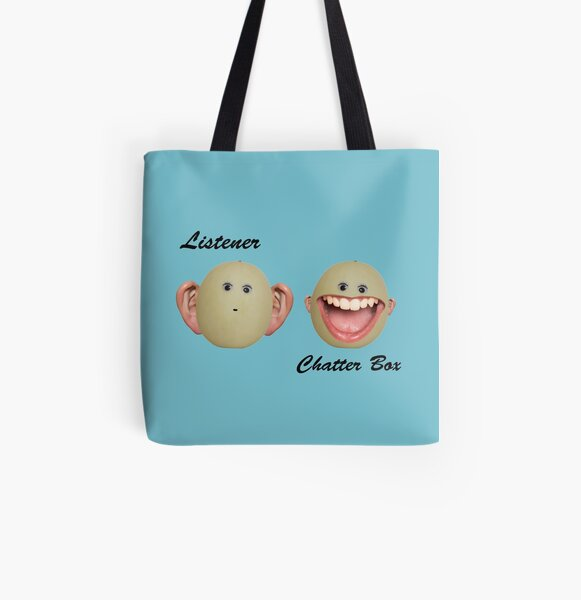 Listener versus Chatterbox All Over Print Tote Bag
