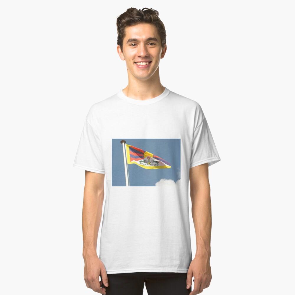 Tibettan flag flying Classic T-Shirt Front