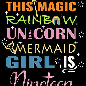 Mermaid Unicorn Birthday 19 Girls Shirt by NoriTEEs