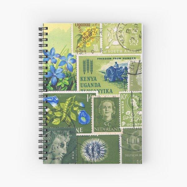Spring Greens - Postage Stamp Collage Spiral Notebook