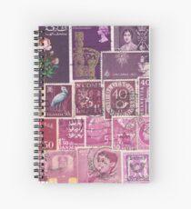 Purple Heather Postage Stamp Colllage Spiral Notebook