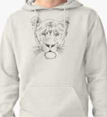 Lioness Face Pencil Drawing Pullover Hoodie
