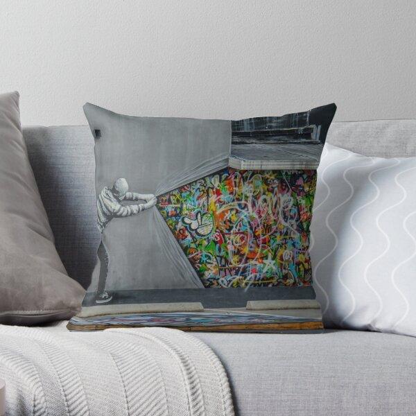 Behind the Curtain Throw Pillow
