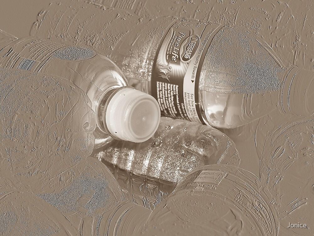 Water Bottles In Sepia by Jonice