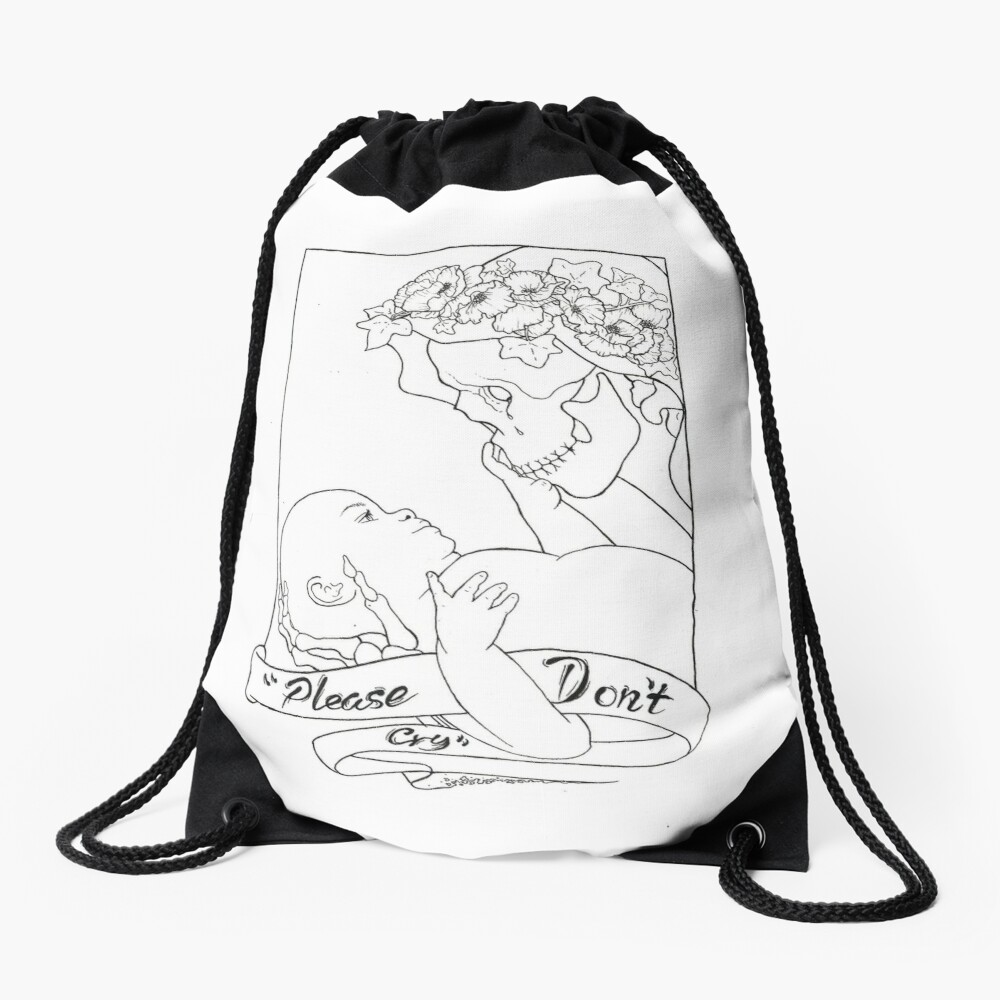 Please Don't Cry  Drawstring Bag