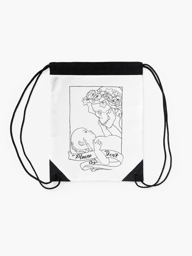 Alternate view of Please Don't Cry  Drawstring Bag