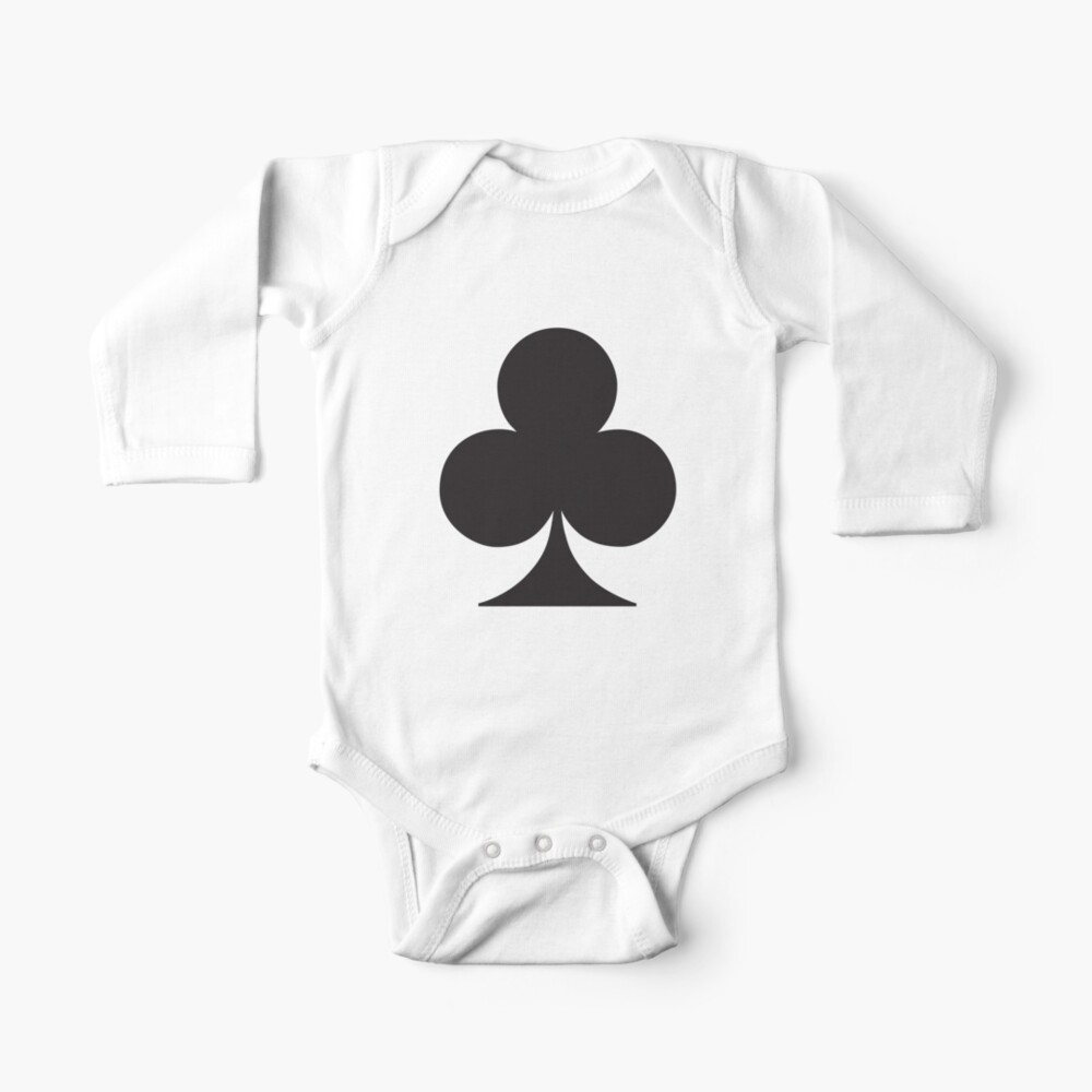 Poker Ace of Spades Printed Baby One-Piece Suit Long Sleeve Romper Black