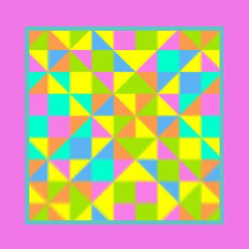 Abstract Multicolor Geo Color Block Pattern with Border-Pastel Effect in Pink/Aqua/Blue by IcArtsyOrigin8