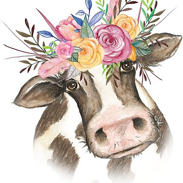 Watercolor Floral Cow by ChannyTatum
