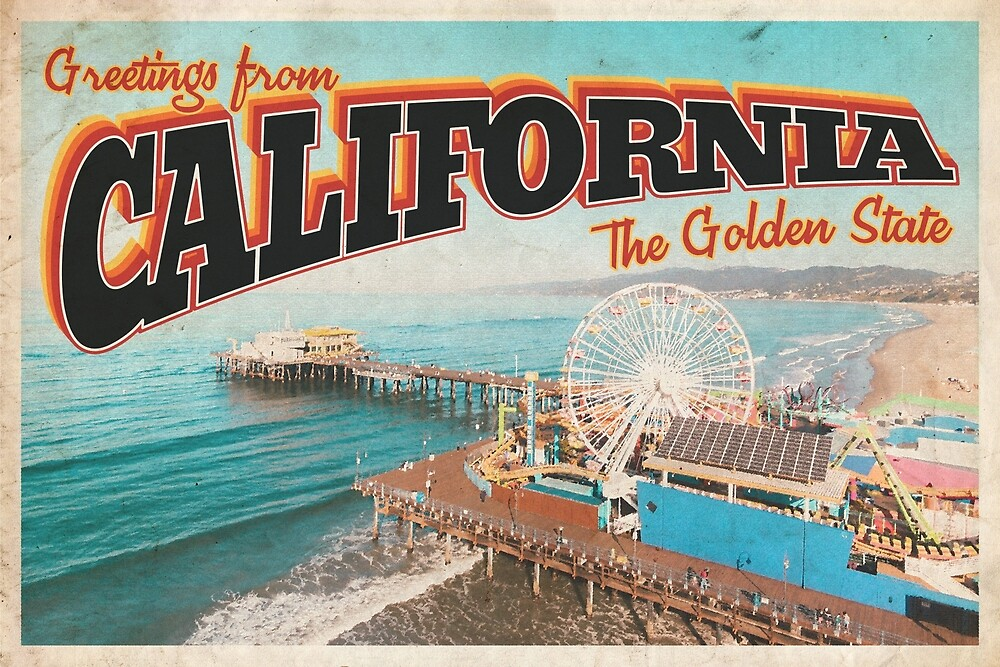 Greetings from California - Vintage Travel Postcard Design  by fromthereco