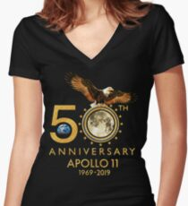 50th Anniversary Apollo 11 moon landing 1969-2019 Fitted V-Neck T-Shirt