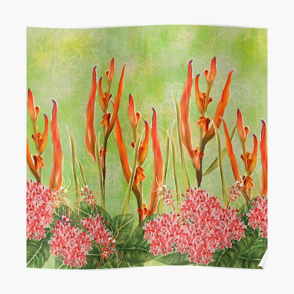 Tropical Rain Forest Malaysian Floral Print Poster