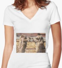 Kissing Camels Women's Fitted V-Neck T-Shirt