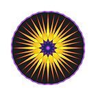 Abstract Bright Star Wheel in Purple and Yellow by camzhu