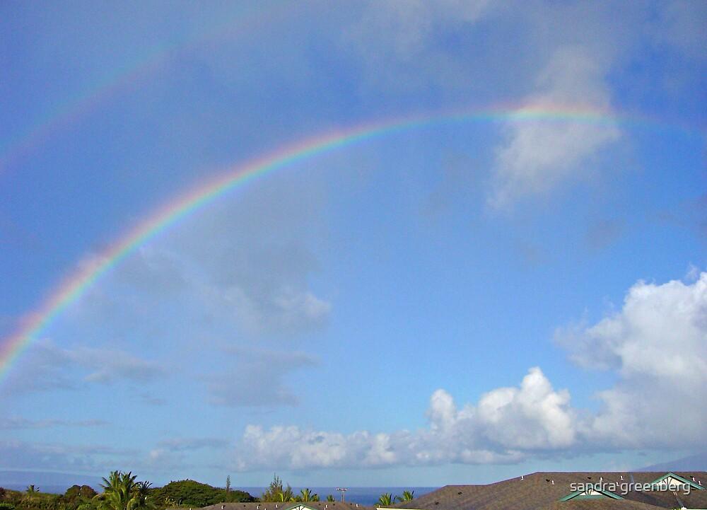 Double rainbow view from my wind Kahana, Maui by sandra greenberg