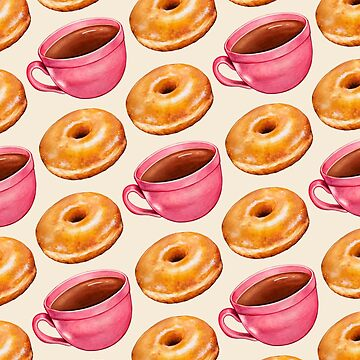 Coffee & Glazed Donuts Pattern, - White by KellyGilleran