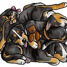 Sleeping pile of Swissies by animalartbyjess