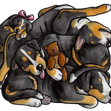 Sleeping pile of Swissies by animalartbyjess